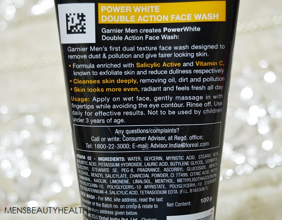 Garnier Men Power White Double Action Face wash Review 2