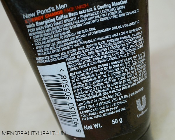ponds men energy charge face wash review ingredients