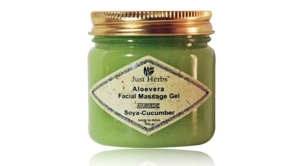 just herbs aloe vera facial massage gel