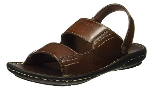 d551b3456 Red tape is a popular brand for men s shoes. This leather sandal pair has a  very dark rustic kind of brown color which is appealing and looks nice.