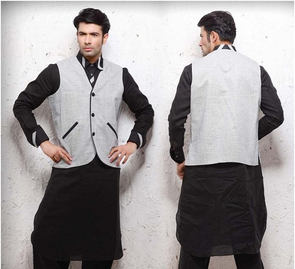 kurta pajama white and black