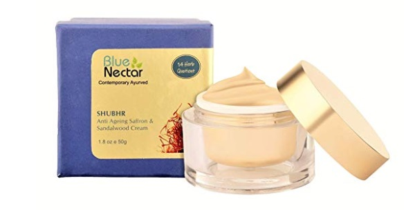 Blue Nectar Ayurvedic Sandalwood & Saffron Anti Ageing & Anti Wrinkle Skin Cream For Men