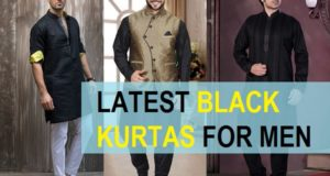 latest black kurta for men