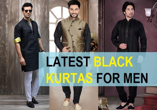 latest black kurta for men