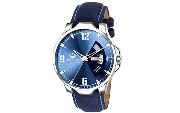 LIMESTONE Day and Date Analogue Blue Dial Men's Watch