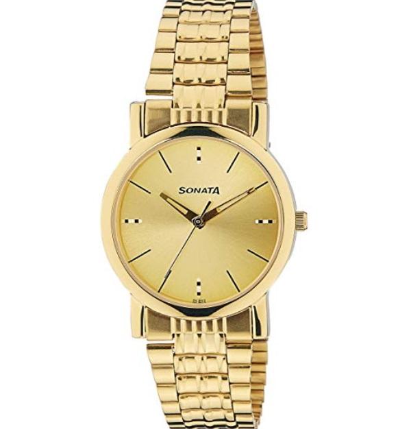 Sonata Analog Gold Dial Men's Watch