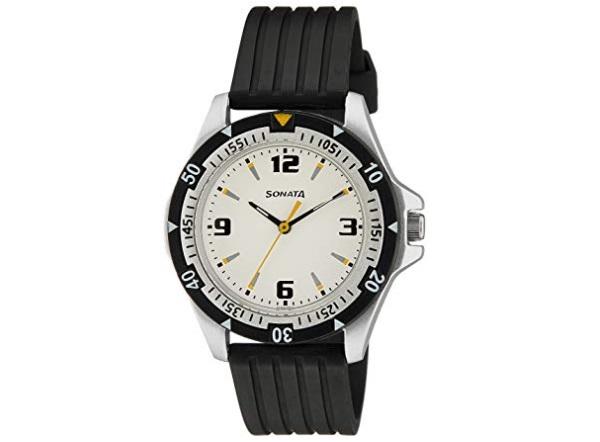 Sonata Super Fibre Analog Black Dial Men's Watch