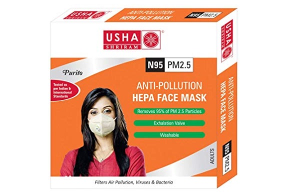 Usha Shriram Masque anti-pollution HEPA pour masque facial