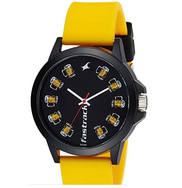 Fastrack Analog Black Dial Men's Watch Yellow Strap