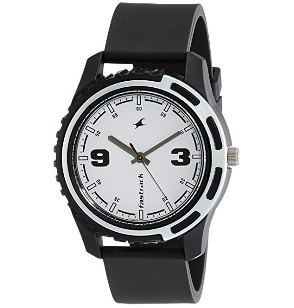Fastrack Analog White Dial with Black Strap Men's Watch