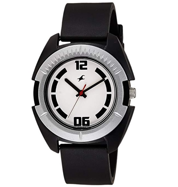 Fastrack Casual Analog White Dial and Black Strap Men's Watch