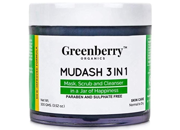 Greenberry Organics Mudash 3 IN 1 Mask, Scrub & Cleanser