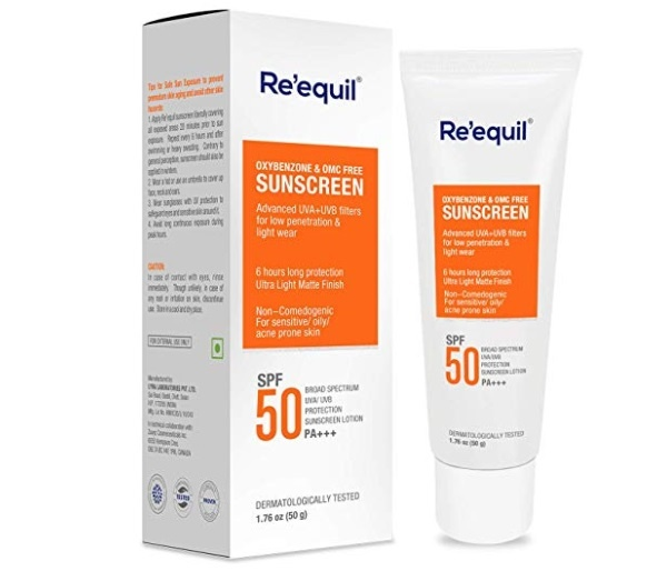RE' EQUIL Oxybenzone and Zero-Omc Sunscreen for Oily, Sensitive and Acne Prone Skin